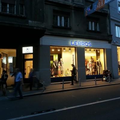 Leros pročelje - 3D svjetleća reklama - svjetleća kutija na ulazu - Masarykova ul. Zagreb